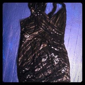 Foley & Corinna Mini Black Dress with Mesh Size L